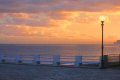 Sea view at sunset. A sea view at sunset Stock Photos