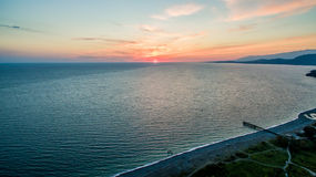 Sea view and sunset from a height. Beautiful view of the sea and the sunset Royalty Free Stock Images
