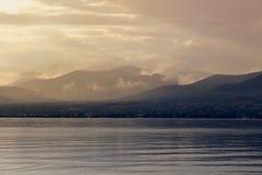 Sea view at sunset island Salamis, Greece Royalty Free Stock Photo