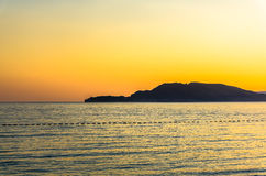 Sea view on sunset on the Kings beach in Milocer Royalty Free Stock Image