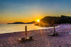 Sea view on sunset on the Kings beach in Milocer Stock Photo
