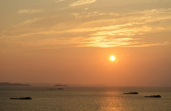 Sea view sunset with mountain Royalty Free Stock Photo