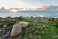 sea view with sunset and distant horizon stock photos