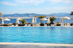 Sea view swimming pool in the luxury hotel Royalty Free Stock Images