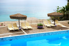 Sea view swimming pool in the luxury hotel Royalty Free Stock Photo
