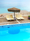 Sea view swimming pool in the luxury hotel Royalty Free Stock Photography