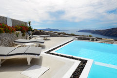 The sea view swimming pool at luxury hotel Stock Image