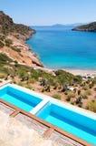 Sea view swimming pools at the luxury villa. Crete, Greece Stock Photography