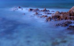 Sea. A view of the sea of Tavolara Island (Sardinia) with long exposure Stock Images