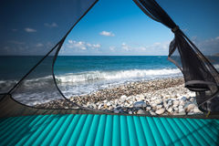 Sea view from tent Stock Photo