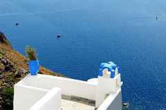The sea view terrace and Aegean sea Royalty Free Stock Image