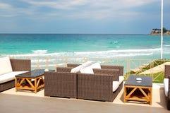 Sea view terrace by a beach Stock Photo