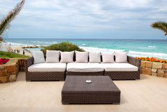 Sea view terrace by a beach Royalty Free Stock Photography