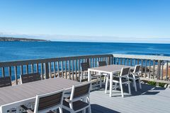 Sea view terrace with blue sky. Sea view terrace at Rockport, MA Stock Photos