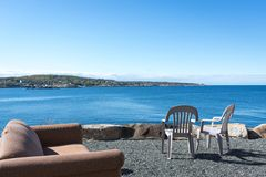 Sea view terrace with blue sky. Sea view terrace at Rockport, MA Stock Photo