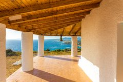 Sea view from terrace. Sea view from church terrace, Messenia, Greece stock photos
