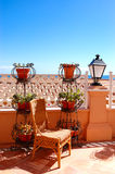 Sea view terrace decoration at the luxury hotel Royalty Free Stock Photography