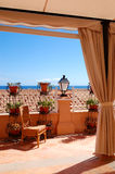 Sea view terrace decoration at the luxury hotel Stock Photo