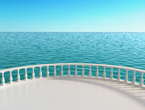 Sea view terrace at the hotel. 3D rendering Stock Images