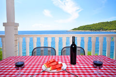Sea view from terrace in Hvar Stock Images