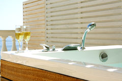 Sea view terrace jacuzzi Stock Images
