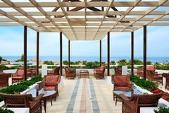 Sea view terrace at luxury hote Royalty Free Stock Image