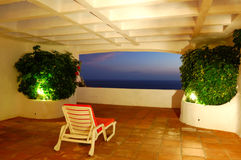 The sea view from a terrace of luxury hotel. Beach and Atlantic Ocean at sunset, Tenerife island, Spain stock photo