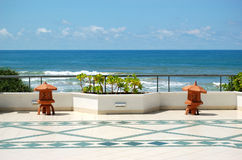 The sea view terrace at luxury hotel Stock Image