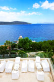 Sea view terrace of luxury hotel Royalty Free Stock Photos