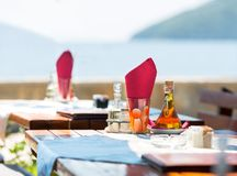 Sea view terrace of the luxury hotel Stock Photo