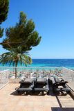 The sea view terrace at luxury hotel. Mallorca, Spain Stock Images
