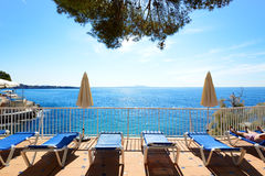 The sea view terrace at luxury hotel. Mallorca, Spain Royalty Free Stock Image