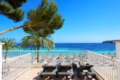 The sea view terrace at luxury hotel. Mallorca, Spain Stock Photos