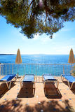 The sea view terrace at luxury hotel Stock Images