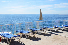 The sea view terrace at luxury hotel Royalty Free Stock Photography