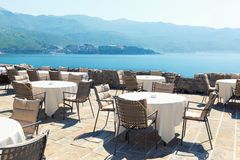 Sea view terrace of the luxury hotel Royalty Free Stock Photo