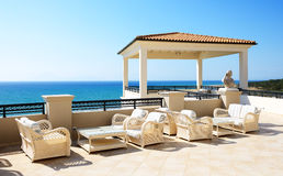 Sea view terrace of luxury hotel Stock Images