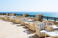 Sea view terrace of luxury hotel Stock Photos