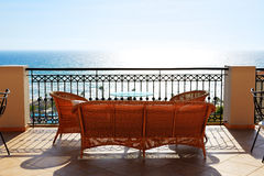 Sea view terrace of luxury hotel Stock Photo
