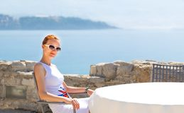 Sea view terrace of the luxury hotel Stock Image