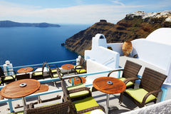 The sea view terrace at luxury hotel Royalty Free Stock Photos