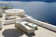 The sea view terrace at luxury hotel. Santorini island, Greece Royalty Free Stock Image