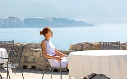 Sea view terrace of the luxury hotel Stock Images