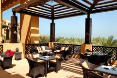 Sea view terrace of outdoor restaurant Stock Photo