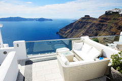 The sea view terrace, Santorini Royalty Free Stock Image