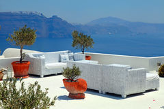 The sea view terrace with white sofa, Santorini, Greece Stock Images
