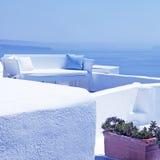 The sea view terrace with white sofa, Santorini, Greece Royalty Free Stock Photo