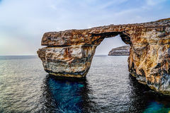 Sea view to Azure window natural arch, Gozo island Malta. Sea view to Azure window natural arch, Gozo island, Malta Royalty Free Stock Images