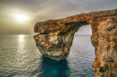 Sea view to Azure window natural arch, now vanished, Gozo island, Malta. Sea view to Azure window natural arch, now vanished, Gozo island Malta Royalty Free Stock Photography