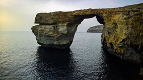 Sea view to Azure window natural arch, now vanished, Gozo island, Malta Stock Images